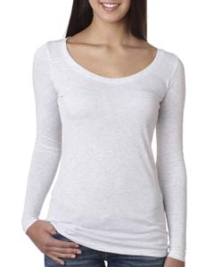 Heather White Ladies Triblend Long Sleeve Scoop Tee