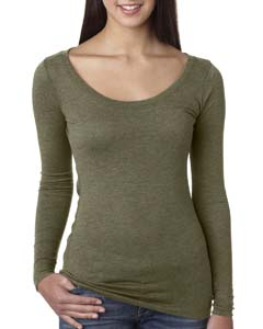 Military Green Ladies Triblend Long Sleeve Scoop Tee
