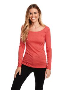 Vintage Red Ladies Triblend Long Sleeve Scoop Tee