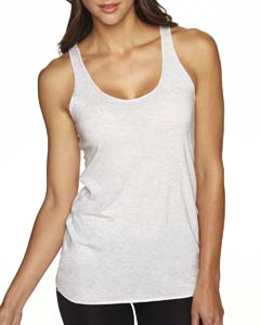 Heather White Ladies Triblend Racerback Tank