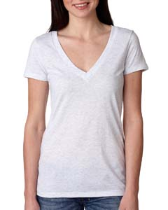 Heather White Ladies Triblend Deep-V Tee