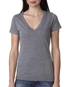 Premium Heather Ladies Triblend Deep-V Tee