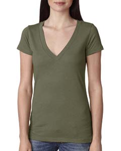 Military Green Ladies Triblend Deep-V Tee