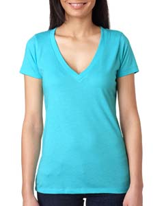 Tahiti Blue Ladies Triblend Deep-V Tee