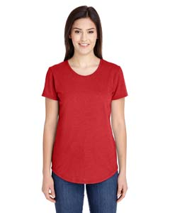 Heather Red Ladies Triblend Scoop Neck T-Shirt