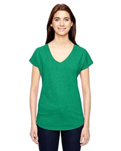 Heather Green Ladies Triblend V-Neck T-Shirt