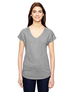 Heather Grey Ladies Triblend V-Neck T-Shirt
