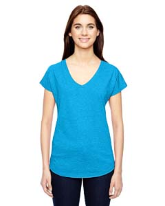 Hthr Carib Blue Ladies Triblend V-Neck T-Shirt