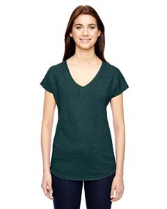 Hth Dark Green Ladies Triblend V-Neck T-Shirt