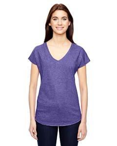 Heather Purple Ladies Triblend V-Neck T-Shirt