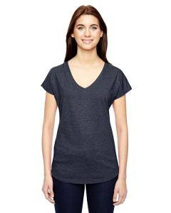 Heather Navy Ladies' Triblend V-Neck T-Shirt
