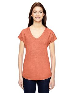 Heather Bronze Ladies' Triblend V-Neck T-Shirt