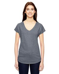 Heather Graphite Ladies' Triblend V-Neck T-Shirt