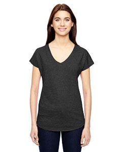 Heather Dk Grey Ladies Triblend V-Neck T-Shirt