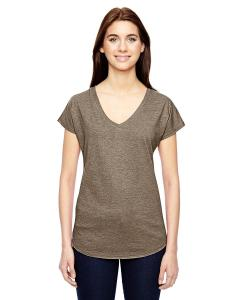 Heather Slate Ladies' Triblend V-Neck T-Shirt