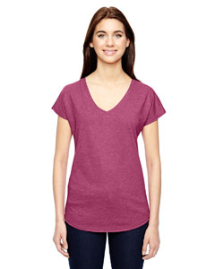 Heather Raspbrry Ladies Triblend V-Neck T-Shirt