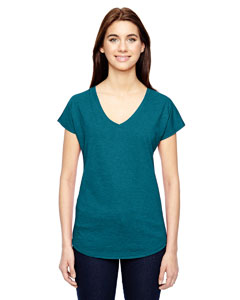 Hth Galap Blue Ladies Triblend V-Neck T-Shirt