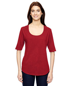 Heather Red Ladies Triblend Deep Scoop Half-Sleeve T-Shirt