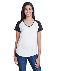 White/ Black Ladies Tri-Blend Raglan T-Shirt