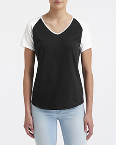 Black/ White Ladies Tri-Blend Raglan T-Shirt
