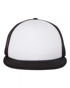 White/ Black Foam Front Flat Bill Trucker Cap