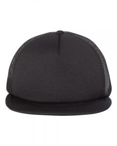 Black Foam Front Flat Bill Trucker Cap