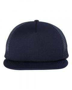 Navy Foam Front Flat Bill Trucker Cap