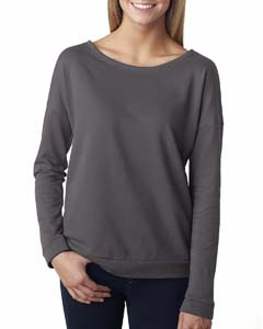 Dark Gray Ladies Terry Long-Sleeve Scoop Tee