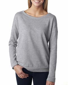 Heather Gray Ladies Terry Long-Sleeve Scoop Tee