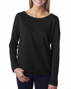 Black Ladies Terry Long-Sleeve Scoop Tee
