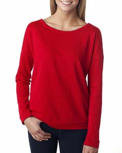 Red Ladies Terry Long-Sleeve Scoop Tee