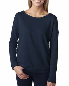Midnight Navy Ladies Terry Long-Sleeve Scoop Tee