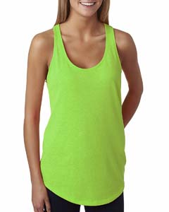 Neon Hthr Green Ladies' French Terry Racerback Tank