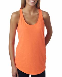 Neon Hthr Orang Ladies' French Terry Racerback Tank