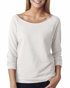 White Ladies' French Terry 3/4-Sleeve Raglan