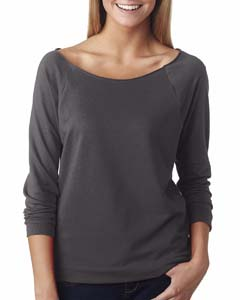 Dark Gray Ladies' French Terry 3/4-Sleeve Raglan