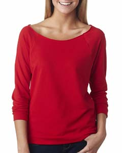 Red Ladies' French Terry 3/4-Sleeve Raglan