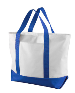 White/royal Bay View Giant Zippered Boat Tote