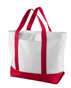 White/red Bay View Giant Zippered Boat Tote
