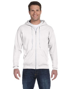 White Ringspun Full-Zip Hooded Sweatshirt