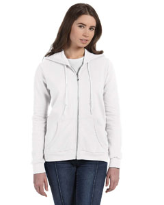 White Women's Ringspun Full-Zip Hooded Sweatshirt