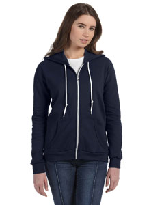 Navy Women's Ringspun Full-Zip Hooded Sweatshirt