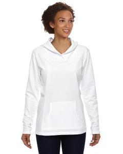 White Women's Ringspun French Terry Crossneck Hooded Sweatshirt