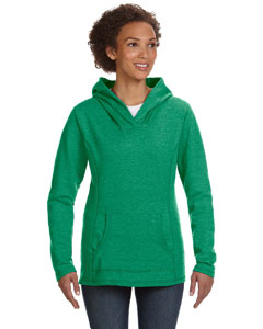 Heather Green Women's Ringspun French Terry Crossneck Hooded Sweatshirt