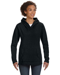 Black Women's Ringspun French Terry Crossneck Hooded Sweatshirt