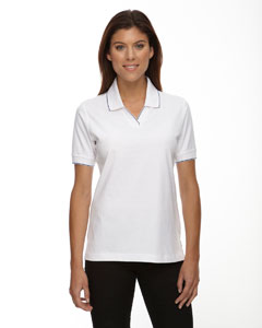 W07 Wht/navy Ladies' Cotton Jersey Polo