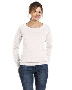 Solid White Trblnd Women's Triblend Sponge Fleece Wide Neck Sweatshirt