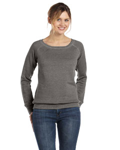 Grey Triblend Women's Triblend Sponge Fleece Wide Neck Sweatshirt