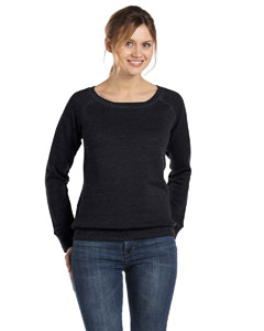 Black Women's Triblend Sponge Fleece Wide Neck Sweatshirt