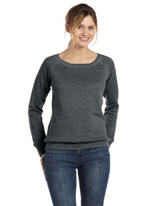 Solid Black Trblnd Women's Triblend Sponge Fleece Wide Neck Sweatshirt